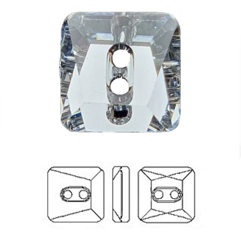 Crystal Swarovski® Square Button Faceted