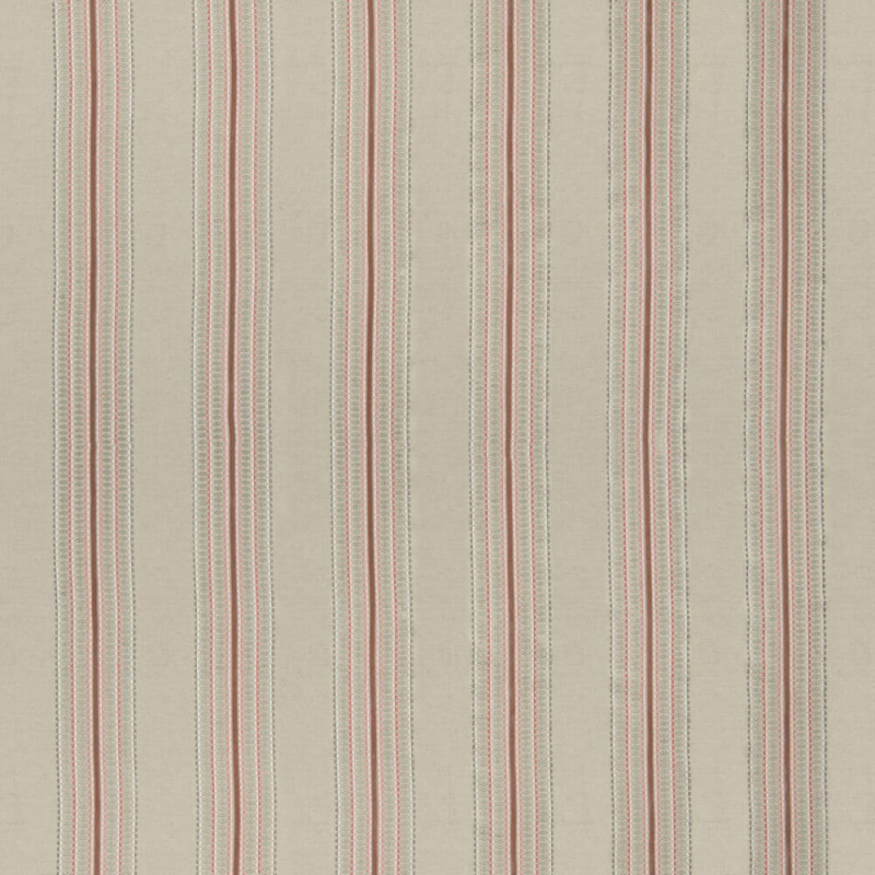 James Hare Ceylon Stripe Fabric Natural/Dusky Rose