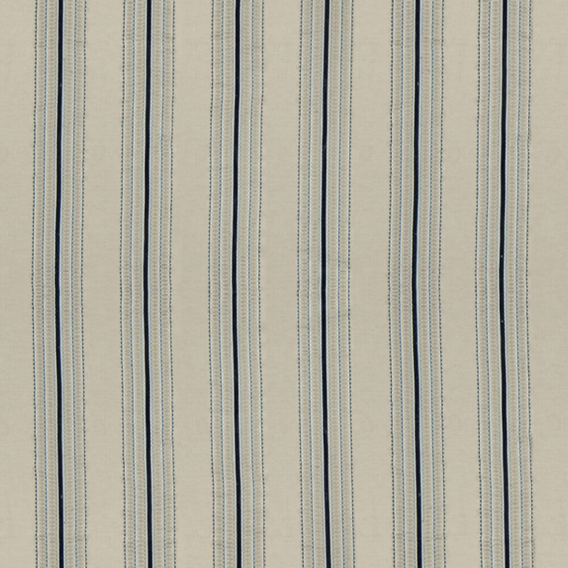 James Hare Ceylon Stripe Fabric Natural/Indigo