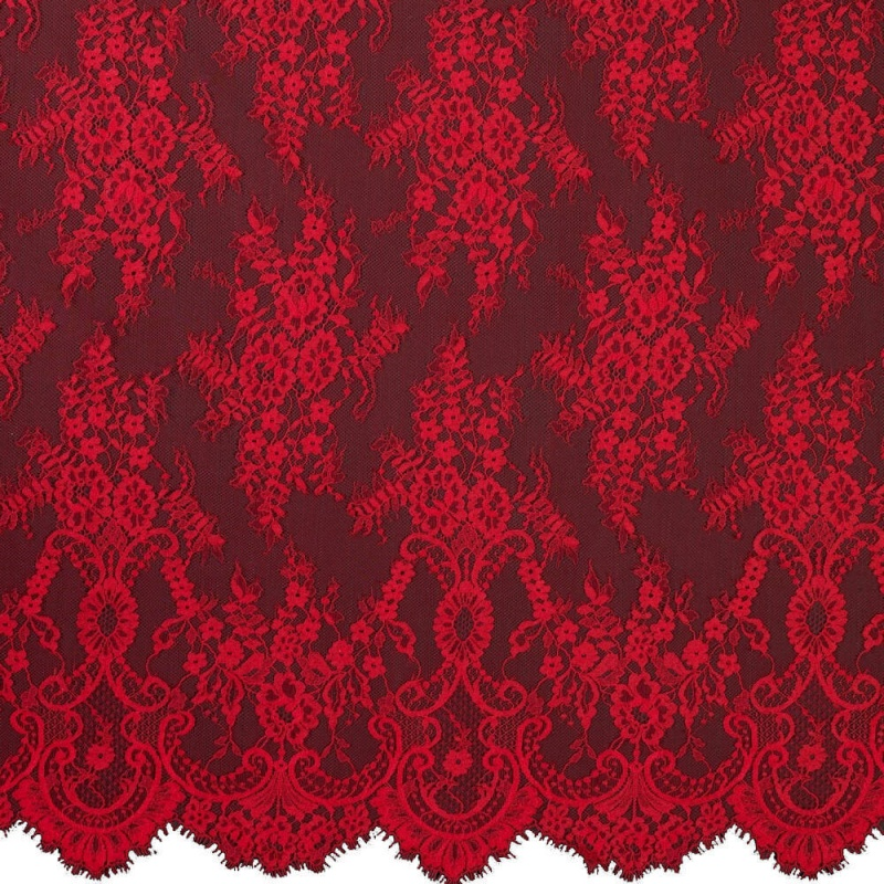 James Hare Chantilly Lace Fabric Rose Red