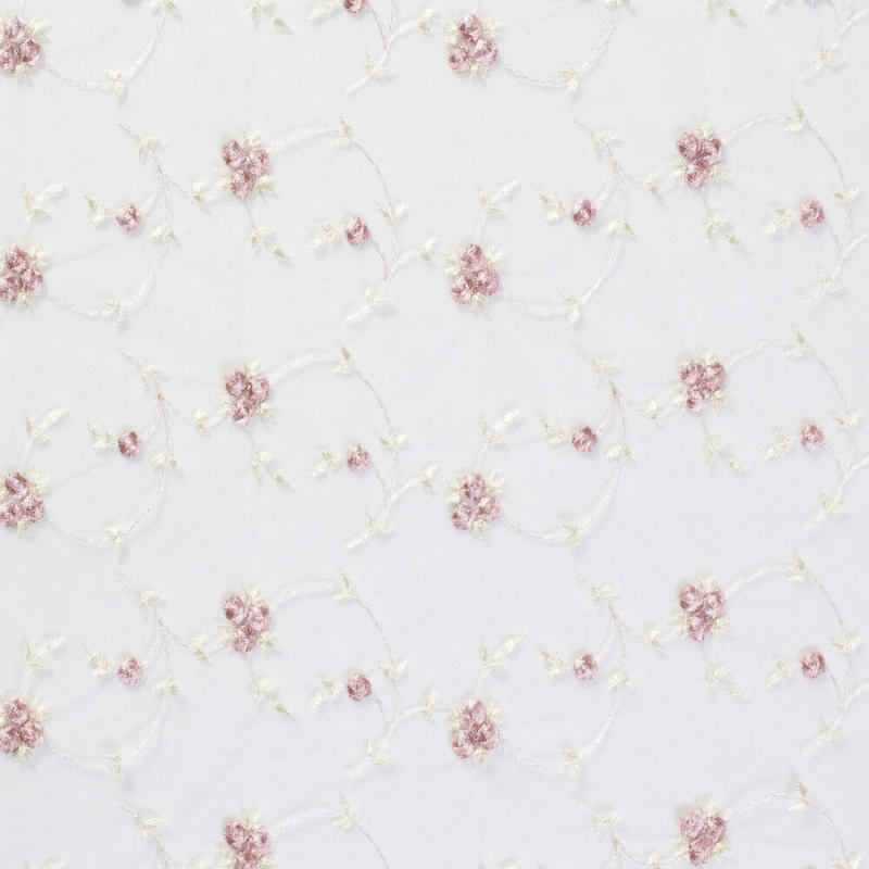 James Hare French Embroidered Tulle Pale Pink