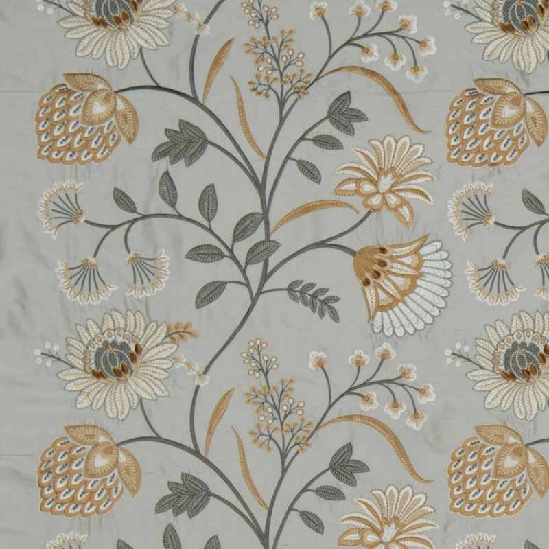 James Hare Siam Silk Fabric Frost/Ochre