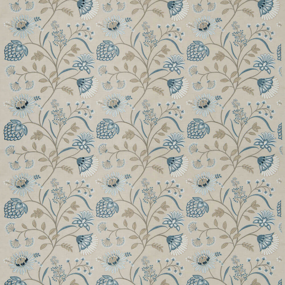 James Hare Siam Linen Fabric Natural/Eton Blue