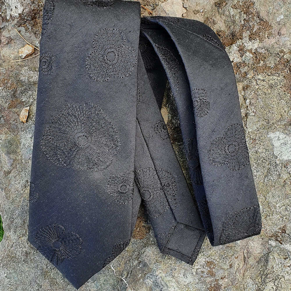 S&C Pure Silk Necktie Embroidered Black