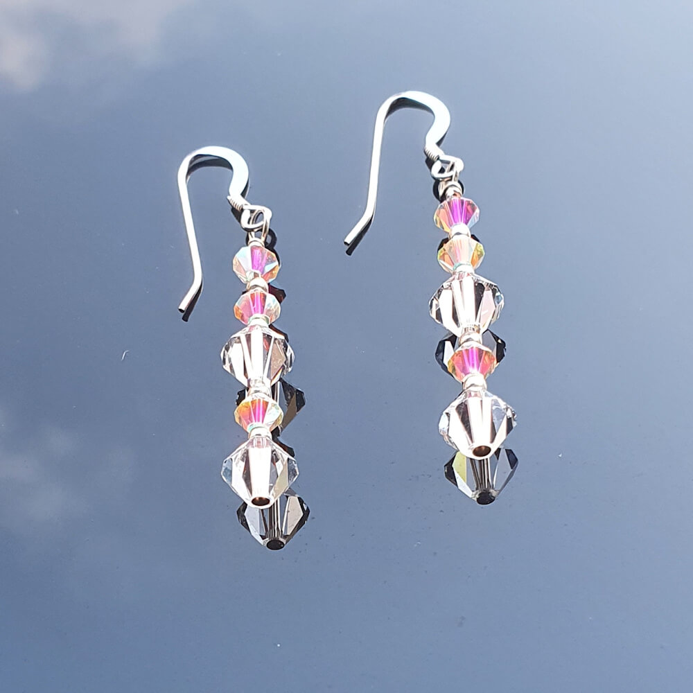 Sterling Silver Crystal AB 2x Drop Earrings
