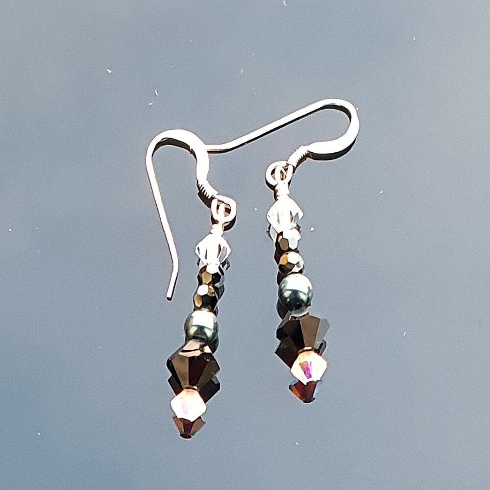 Sterling Silver Crystal Jet HEM 2x Drop Earrings