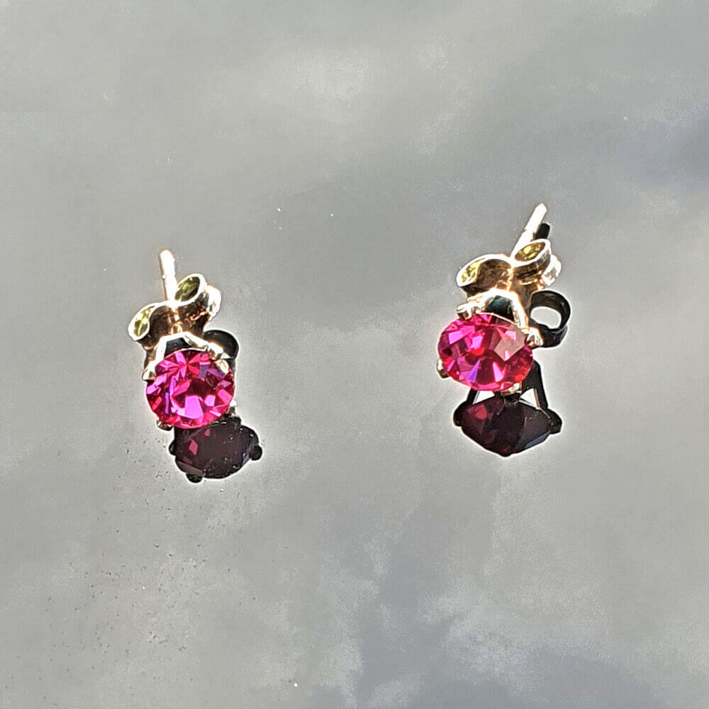 Sterling Silver Fuchsia Crystal Stud Earrings