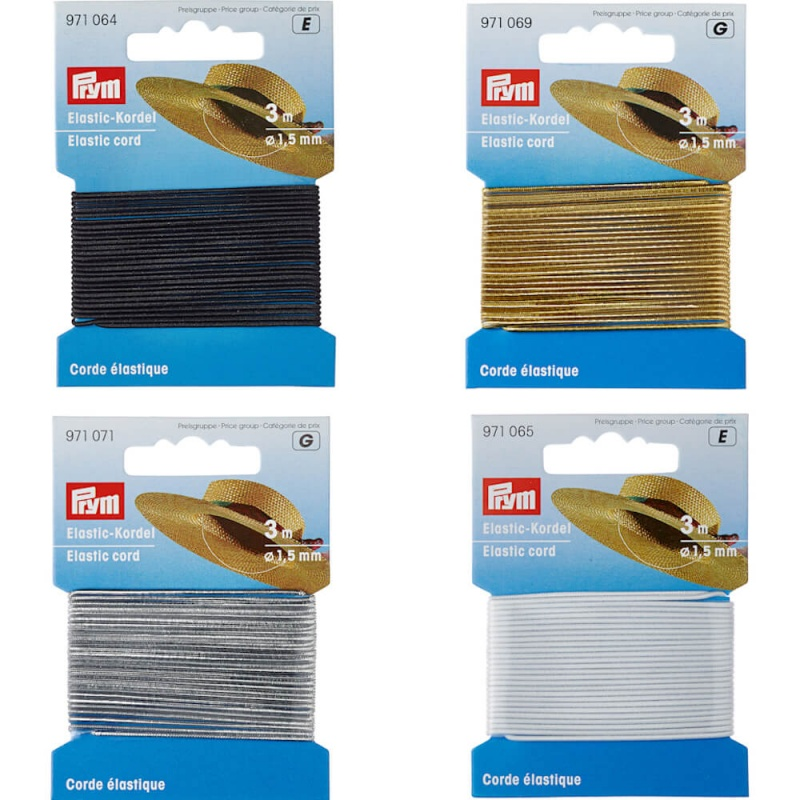 Prym Elastic Cord 1.5mm x 3m Asstorted Colours