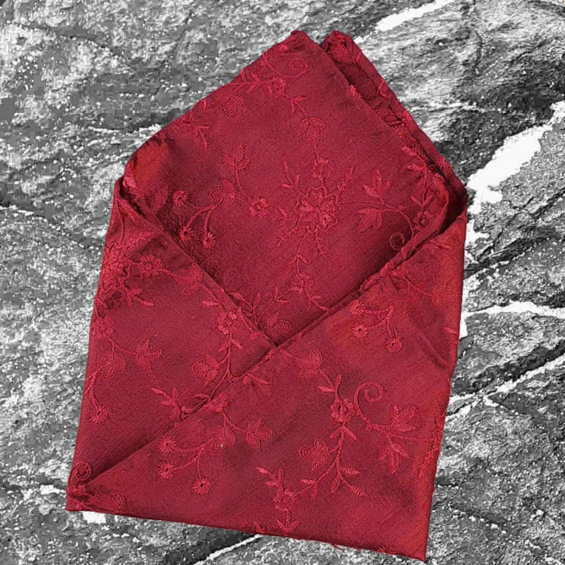 S&C Pure Silk Pocket Square Embroidered Black-Red